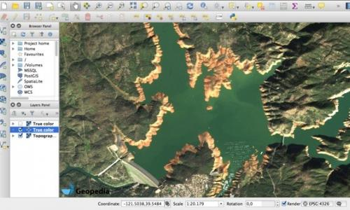 ow water levels of Lake Oroville, US, 26th of January 2016, served via WMS in QGIS